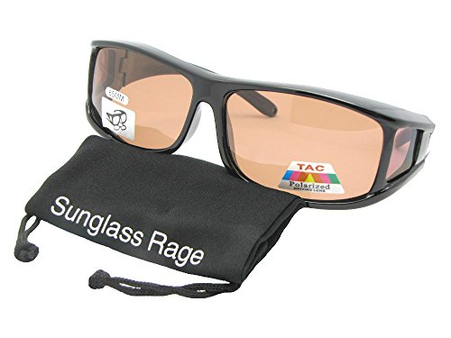 Style F11 Polarized Fit Over With Sunglass Rage Carrying Pouch (Black-Amber - Presription Sunglasses