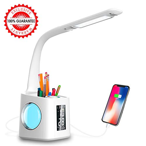 Wanjiaone Study LED Desk Lamp with USB Charging Port&Screen&Calendar&Color Night Light, Kids Dimmable LED Table Lamp with Pen Holder&Alarm Clock, Desk Reading Light for Students,10W