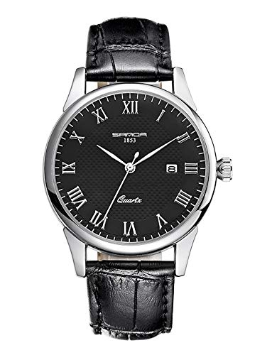 Juniors Boys Super Thin Quartz Analog Black Leather Strap Watch Lovers Watches Ages 15-20 ()