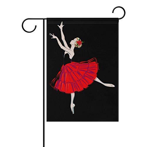 (Afagahahs Garden Flag Ballerina Girl with Red Flower Seasonal Holiday Yard House Flag Banner Decorative Flag for Home Indoor Outdoor Decor)