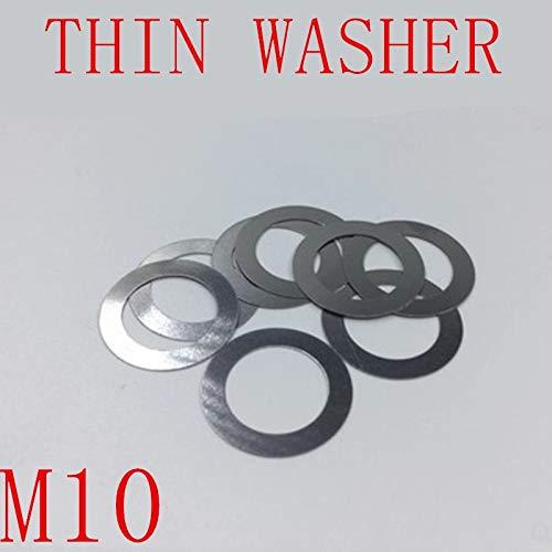 Ochoos Lot de 100 rondelles fines M10 0,2 mm 0,3 mm 0,5 mm en acier inoxydable 304 ultra fines M10X20X0.5