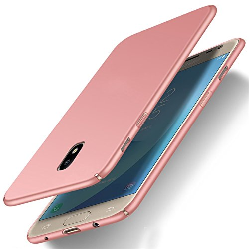 Funda Samsung Galaxy A5(2017) A520, Caso con [Protector de Pantalla de Vidrio Templado] [Ultra-Delgado] [Ligera] Huellas Dactilares Resistente Totalmente Protectora Estuche de Plástico Duro -Azul Rosa