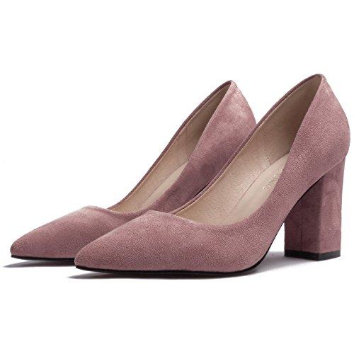 FLYRCX La primavera y el otoño, temporada de gamuza negra única Dama zapata superficialmente señaló carrera zapata zapatos de tacón alto del partido Unión tamaño: 31-40 D