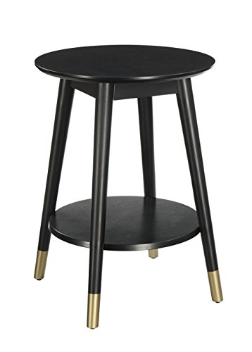 Convenience Concepts Wilson Mid-Century Round End Table with Bottom Shelf 41T9HNgc6BL