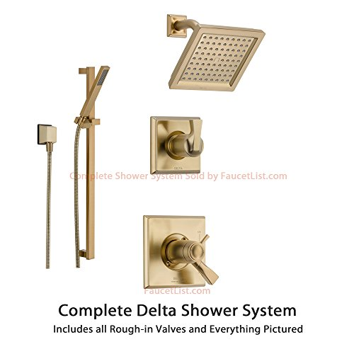 Delta Dryden Champagne Bronze Shower System with Thermostatic Shower Handle, 3-setting Diverter, Modern Square Showerhead, and Hand Shower Spray SS17T5185CZ Delta Faucets
