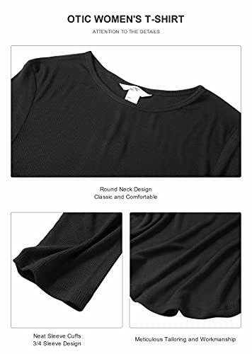 OTIC Women's Basic T-Shirt Crew Neck 3/4 Sleeves Ribbed Casual Top Black