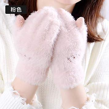 c62d9a67bc2 ToucHscreenGlove Gants d écran Tactile Hiver Chaud pour Femmes Laine  Mignonne en Peluche coréenne épaisse