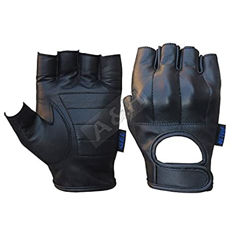 A/&H Apparel Leather Motorcycle Glove Genuine Cowhide Fingerless Leather Driving Gloves Small