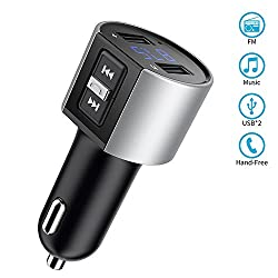 Bluetooth Fm Transmitter, Tompol In-car Wireless Bluetooth Fm Transmitter Mp3 Player Radio Adapter Car Kit With Dual Usb Port & Hands-free Calling