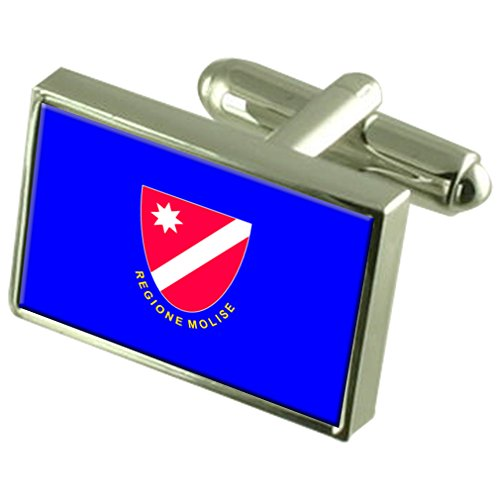 Molise Region Italy Sterling Silver Flag Cufflinks Engraved Box by Select Gifts