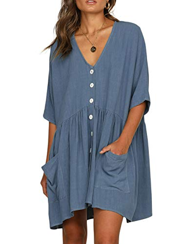 CILKOO Women's Summer Beach Short Sleeve Mini Dresses Button Down Dress Tunic Dress Casual Ruffle Swing Shift Dresses Blue US4-6 ()