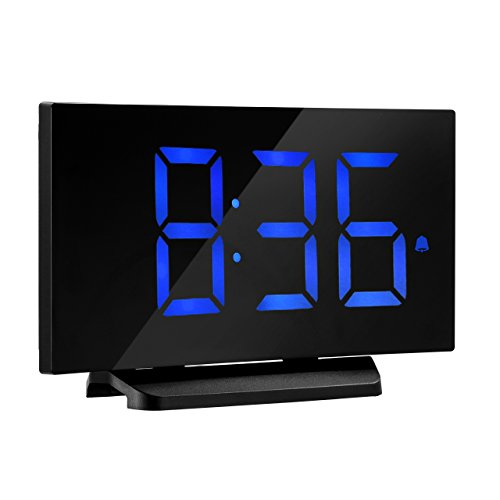 Digital Alarm Clock, Atmoko 5'' LED Display Clock with Curved-screen and Dimmer, Snooze Function, 3 Adjustable Alarm Sounds, Bedside Alarm Clock for Bedroom, Kitchen, Office