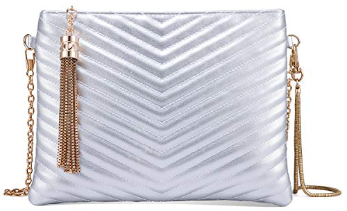 Faux Chains (Women Clutch Purse Crossbody Evening Bags with Faux Leather Chain Wristlet Strap (Silver))