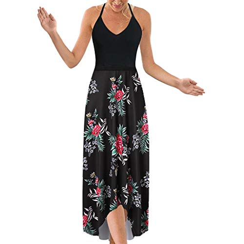 Women's Dress Halter V Neck Sleeveless Summer Casual Asymmetrical Patchwork Floral Maxi Dresses