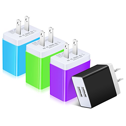 Travel Charger Wall Retractable (USB Charger, Costyle 4 Pack 3.1 Amp 15.5 Watt Dual USB 2 Port Home Travel Charger Power Adapter Plug Compatible iPhone Xs Max XR X 8 7, Samsung Galaxy S9 S8 Plus, iPad, LG- Green Blue Purple Black)
