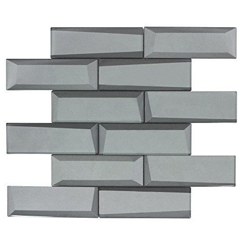 - MTO0160 Modern Faceted Beveled Subway Gray Glossy Metallic Glass Mosaic Tile