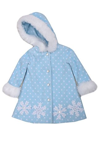 (Bonnie Baby Baby-Girls Infant Snowflake Appliqued and Fur Trim Fleece Coat, Aqua, 12 Months )