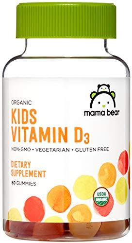 Amazon Brand - Mama Bear Organic Kids Vitamin D3 25 mcg (1000 IU) per serving, 80 Gummies