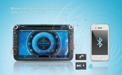 8 inch Touch screen Volkswagen DVD Player GPS Navigation for VW Jetta,VW Golf,VW Passat with DVD/GPS/PIP/3D/Game/AnalogTV/Bluetooth/ BT music/Ipod/BT telephone book/CANBUS (camera view),Steering Wheel Control by EinCar (Image #3)