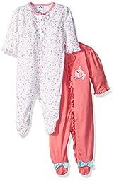 Gerber Baby Girls\' 2 Pack Zip Front Sleep \'n Play, Birdie, 6-9 Months