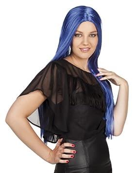 Peluca de pelo largo azul Bruja peluca Bruja para mujer peluca