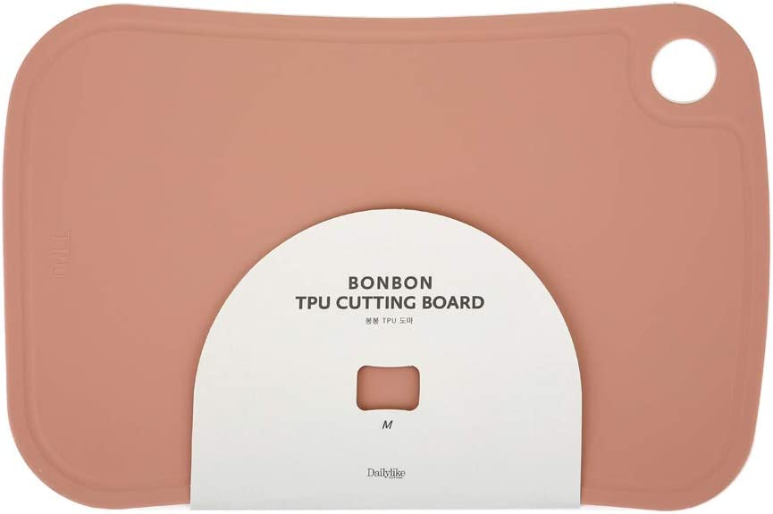 BONBON TPU Cutting Board Efficient Eco-Friendly Safe Hygienic Durable Elastic TPU Kitchen Appliance (Medium, Dusty Rose)