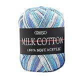 Hunputa Colorful Hand Knitting 50g Knitting Crochet Milk Soft Baby Cotton Wool Yarn for Finger Knitting,Crocheting Felting,Making Rugs Blanket and Crafts (B)