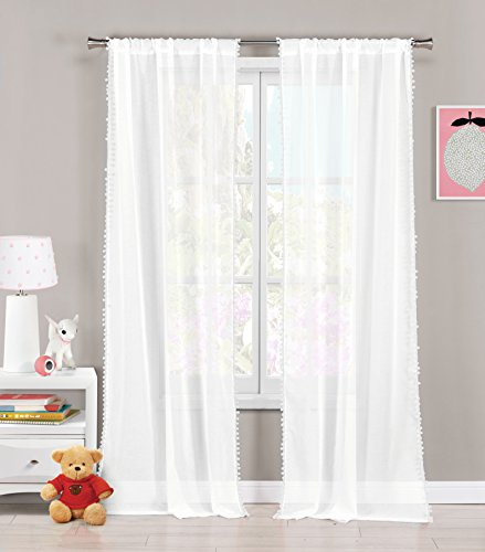 Pole Top Curtain Panel (Set of Two (2) Sheer Pole Top Window Curtain Panels: Pure White with Coral pom-poms, 76