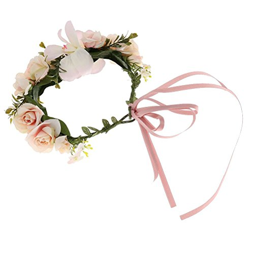 Halo Silk (BESTOYARD Flower Wreath Headband Crown Halo Floral Garland Bridal Flower Garland for Wedding Party Festivals (Light Pink))