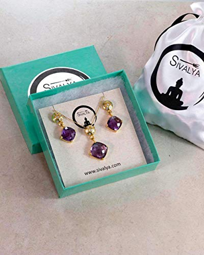 SIVALYA Amethyst and Crystals 925 Sterling Silver Necklace and Earrings Jewelry Set in Gold Vermeil - Luxury Gift Packaging Included - Gift for Women