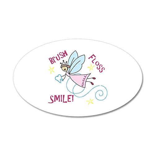 (CafePress - Brush Floss Smile Wall Decal - 35x21 Oval Wall Decal, Vinyl Wall Peel, Reusable Wall Cling)