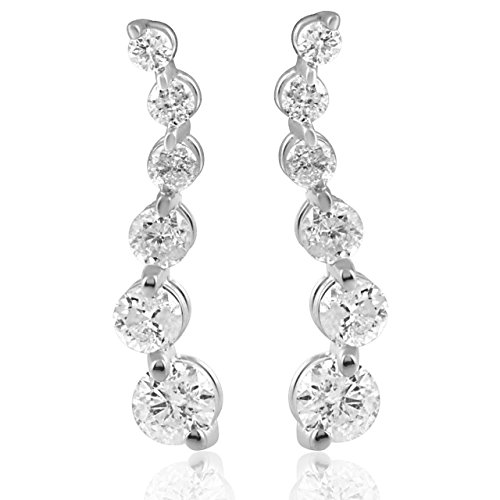 Ladies 1/2ct Diamond Journey Earrings 14K White Gold