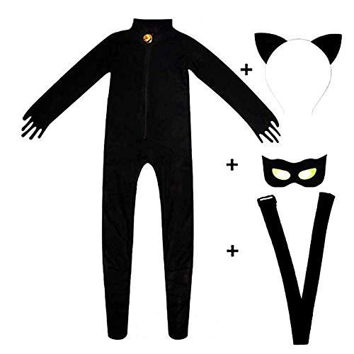 Kid's Cat Cosplay Jumpsuit Boy's Girls Costume Black Cat Noir Cosplay Costume (Small) -