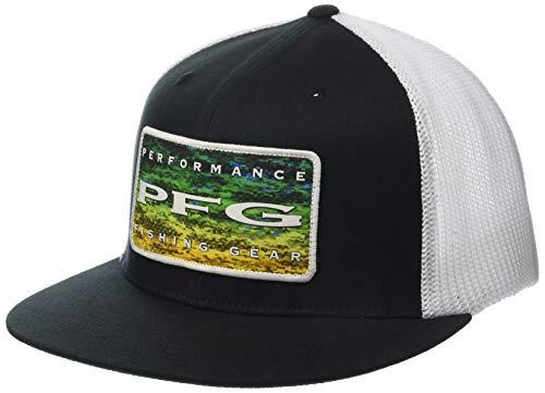 Columbia Cotton Hat - Columbia Unisex PFG Mesh Flat Brim Ball Cap, Black, Dorado Fade, Large/X-Large