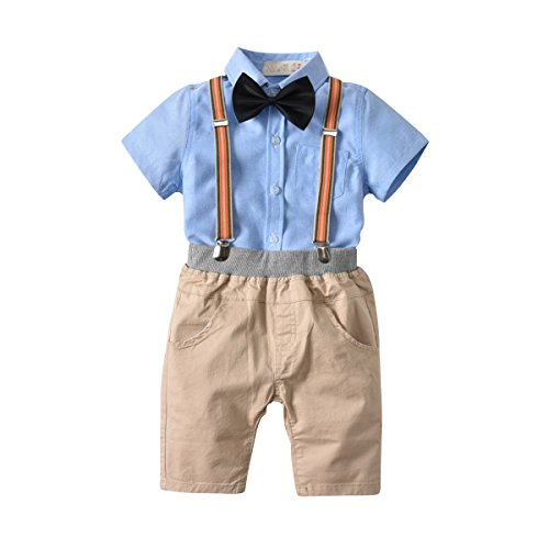 Baby Boy Short Sleeve Shirt and Shorts Summer Bow Tie Outfit Suit Clothes Set 2T
