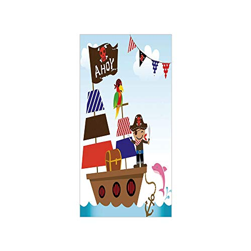 3D Decorative Film Privacy Window Film No Glue,Ahoy Its a Boy,Cute Pirate Kids Treasure Chest with Ship on Ocean Background Illustration,Multicolor,for Home&Office