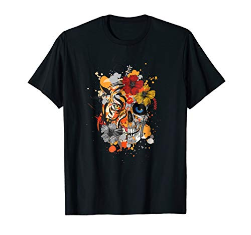 Dia De Los Muertos Day Of The Dead Tiger Skull Costume Shirt]()