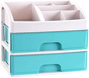 JINLINE Cosmetic Storage Box Transparent Plastic Desktop Finishing Box Princess Dressing Table Storage Rack Skin Care Products 27.6x23.8x20cm Medicine Storage Box (Color : Green)