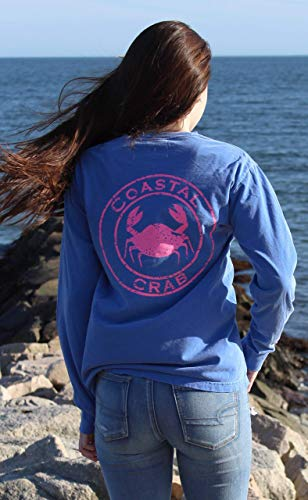 Adult Long sleeve T-Shirt periwinkle with Pink Imprint Large