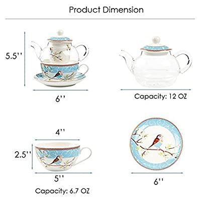 Jusalpha Glass Teapot with a Fine China Infuser Strainer, Cup and Saucer Set,Teapot and Teacup for One, Tea for one #05