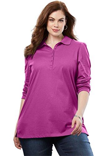 Ultimate Tee Womens Plus Size Polo Long-Sleeve Ultimate Tee