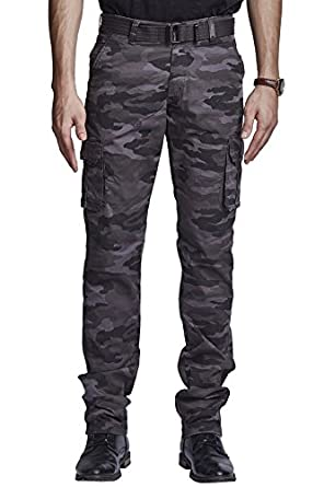 BEEVEE Men's Cotton Chemo Printed Fixed Waist Cargo with Belt Men's Casual Trousers at amazon