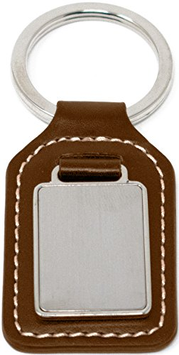 Brown Leather With Plate Genuine Leather Keychain