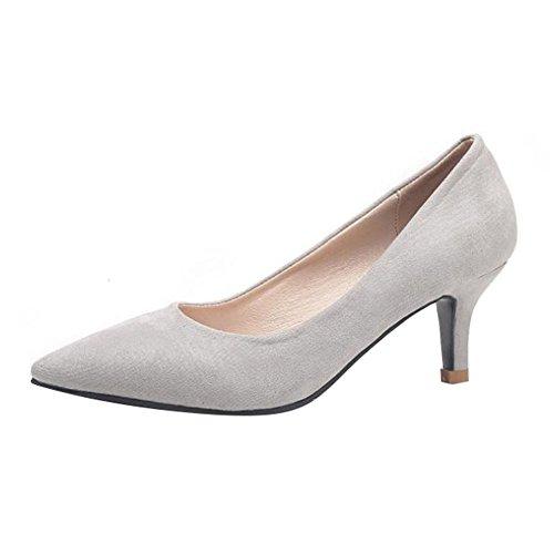 Talon Gris Confortables Femme de 4CM Soirée Chaussures Escarpins Petit Fit Pointus Escarpins Daim Wide en ZUntx4w6f