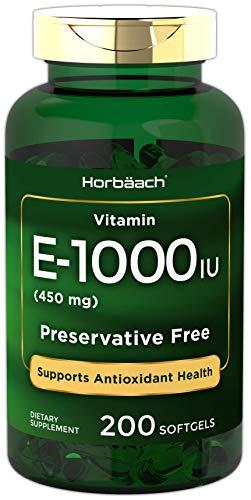 Horbaach Vitamin E 1000 IU 200 Softgel Capsules | Non-GMO, Gluten Free, Preservative Free (Vitamin E 1000 Mg)
