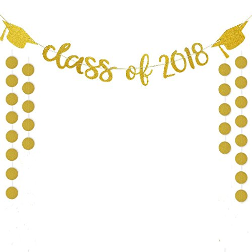 Gold Glittery Class of 2018 Banners and Gold Glittery Circle Dots Garland(25pcs Circle Dots)-Graduation/Grad Party Decorations
