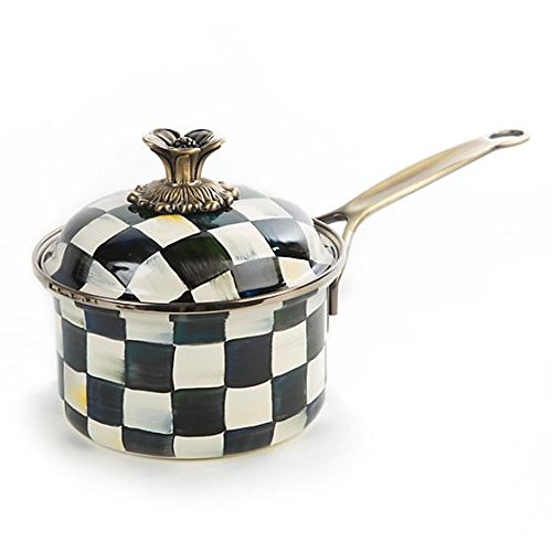 MACKENZIE CHILDS BRAND NEW Courtly Check Enamel 1Qt. Saucepan