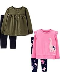 Girls' 4-Piece Long-Sleeve Shirts and Pants Playwear Set