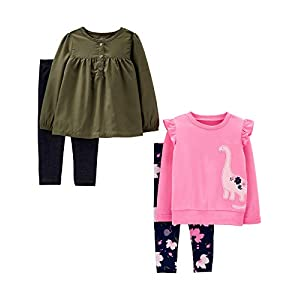 Simple Joys by Carter's Baby and Toddler Girls' 4-Piece Long-Sleeve Shirts and Pants Playwear Set