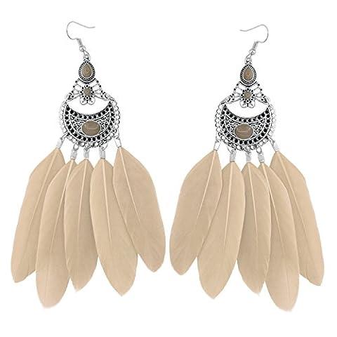 KISSPAT Vintage Boho Long Natural Feather Earrings Dangle Hook Earrings for Women - Colored Feather Earrings